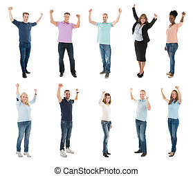 Creative Business Team With Arms Raised Celebrating Success