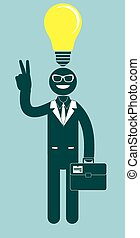 Creative businessman pointing