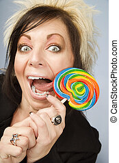 Creative Businesswoman with a Lollipop