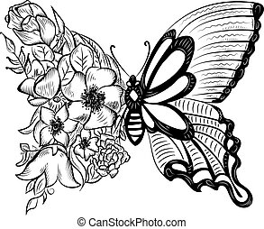 creative butterfly with a wing of flowers