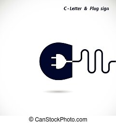 Creative C-letter icon abstract logo design vector template with electrical plug symbol. Corporate business creative logotype symbol.
