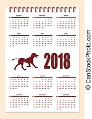 Creative calendar with drawn dog silhouette for wall year 2018