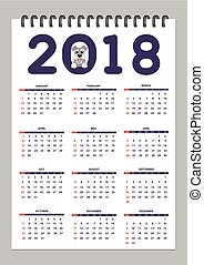 Creative calendar with drawn toy dog for wall year 2018