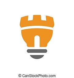 Creative castle lightbulb logo icon template, light bulb lamp symbol - Vector
