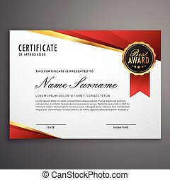 creative certificate of appreciation award template in red and golden design