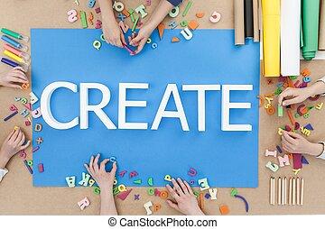 Creative children building words on blue background