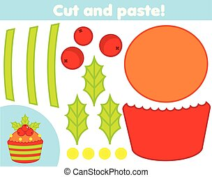 Creative children educational game. Paper cutting activity. Make a New Year, Christmas cupcake with glue and scissors