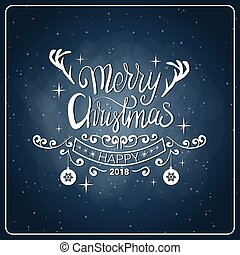 Creative Christmas Icon Vintage Chalk Board Style Happy New...