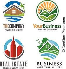 creative circle house logo set
