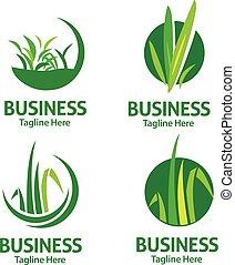 lawn care logo set - creative circle lawn care logo set...