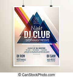 creative club music party event flyer template with abstract shapes