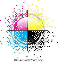 Creative CMYK design - Creative CMYK pixelated design over...
