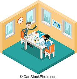 Creative collaboration. Businessmen team working in office isometric 3d concept