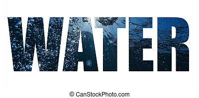 Creative collage Water. Inscription on the background