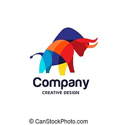 Colorful Bull Logo Symbol Vector