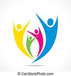 creative colorful enjoy or celebration icon design