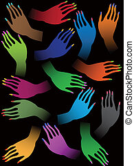 Creative colorful female hands on black background