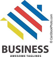 colorful geometric house logo