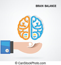 Creative colorful left and right brain Idea concept background, Brain balance concept .vector illustration contains gradient mesh
