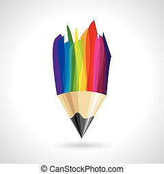 creative colorful pencil icon