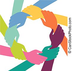 Creative Colorful Ring of hands teamwork