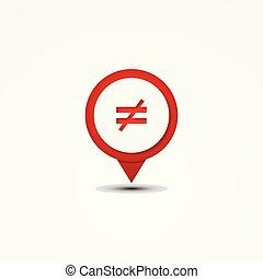 Creative combination not equal mathematics symbol and map ...