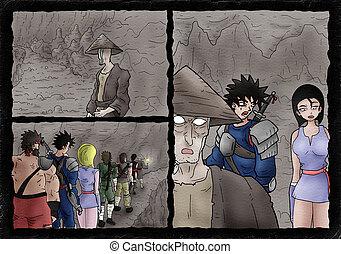 Creative comic scene in cavern
