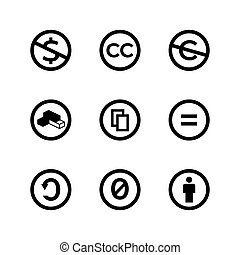 Creative commons public copyright licence marks and icons. -...