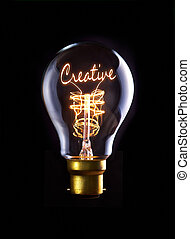 Creative Concept - Creative concept in a filament lightbulb.