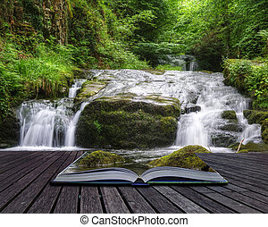 Creative concept image of flowing forest waterfall coming ...