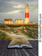 Creative concept image of lighthouse landscape coming out of pages in magical book