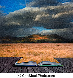 Creative concept image of Mountain range landscape with field of wheat in rain in pages of book