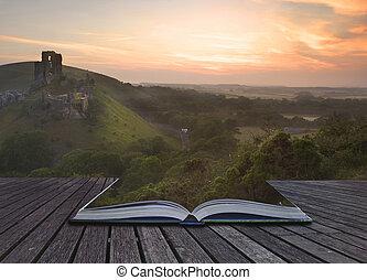 Creative concept image of romantic fairytale castle ruins...