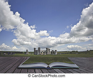 Creative concept image of Stonehenge coming out of pages in magical book