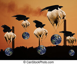 Creative concept of flying elephants saving planet Earth and environment from pollution and industry