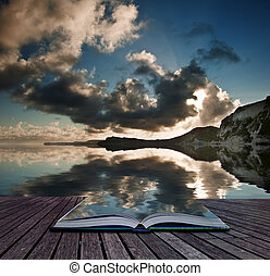Creative concept pages of book Beautiful sunrise landscape over Mupe Bay on Jurassic Coast in Dorset, England