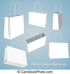 Creative concept vector set of empty shopping bag isolated on white background. Vector illustration creative template design, Business software and social media.