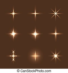 set of glow light effect stars