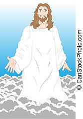 Jesus Christ on Clouds