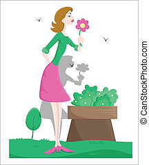 Pretty Girl with Flower Vector