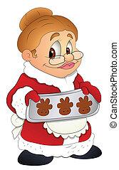 Christmas Granny Lady Cartoon