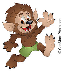 Creative Conceptual Design Art of Cute Werewolf Cartoon Character Vector Illustration