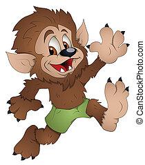 Creative Conceptual Design Art of Cute Werewolf Cartoon Character Vector Illustration