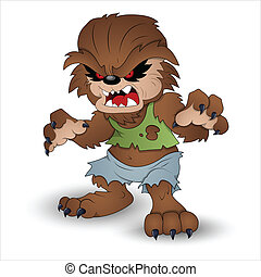 Funny Werewolf Vector Illustration - Creative Conceptual...