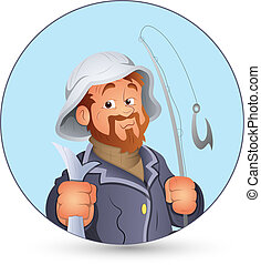 Retro Fisherman Vector Illustration