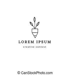 Creative Contest theme. Premade logo template. Pencil tip...