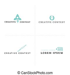 Creative contest theme. Set of vector premade logo templates...