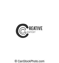 Creative contest. Vector hand drawn premade logo template....