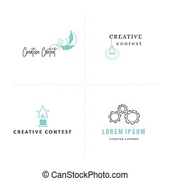 Creative contest. Vector set of premade logo templates with...