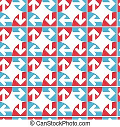 Creative continuous multicolored pattern with circles and arrows